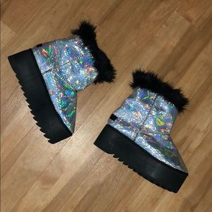 Current Mood Holographic Platform Boots